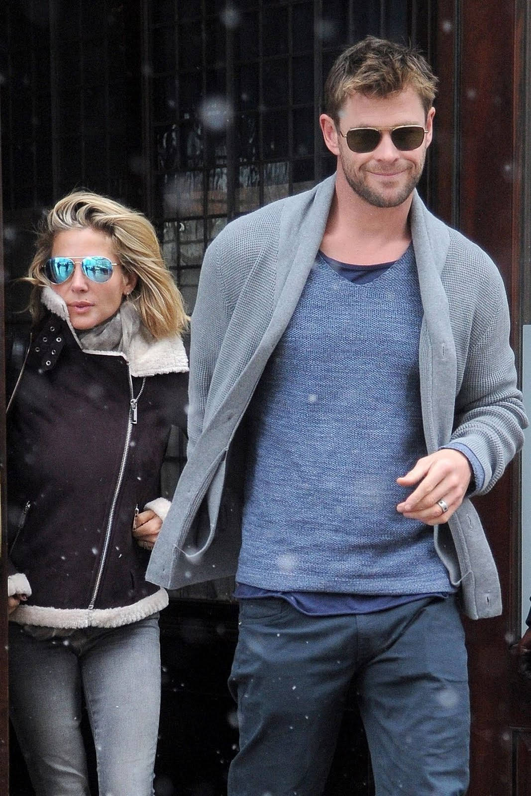 Elsa Pataky out with Chris Hemsworth in Snowfall in New York