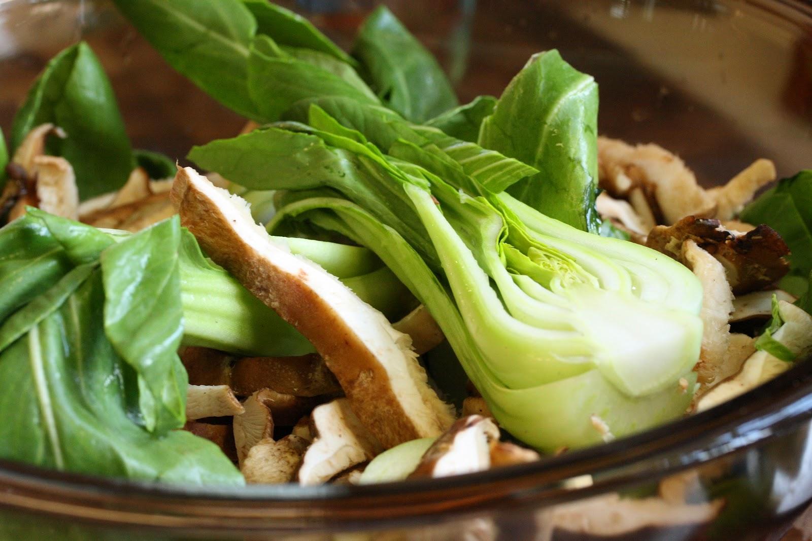 Salmon with Bok Choy Cabbage Shiitakes Saving Room