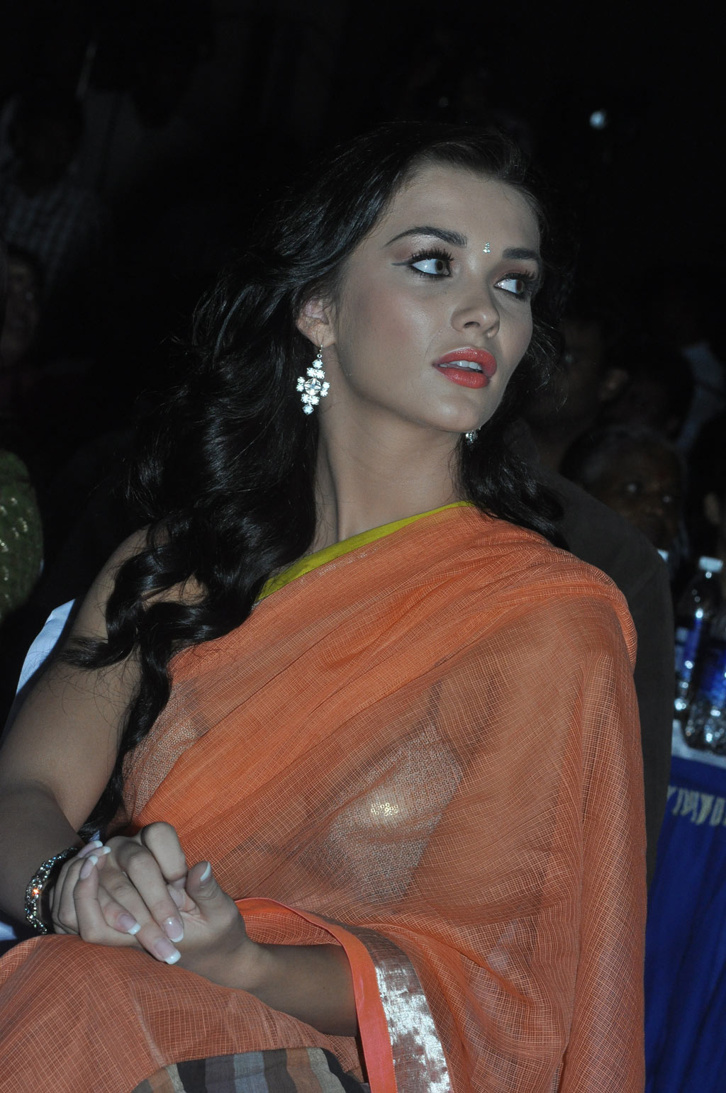 Amy Jackson Latest Stills Spicy In Orange Saree