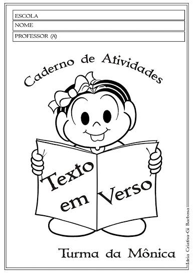 Caderno de Atividades Letras do Alfabeto com texto  Turma da Mônica
