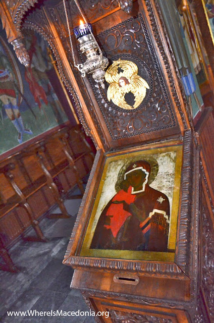 Holy Mother of God painted with black face and clothing, holding in her hands the Black Jesus - Kalishta Monastery, Struga, Macedonia