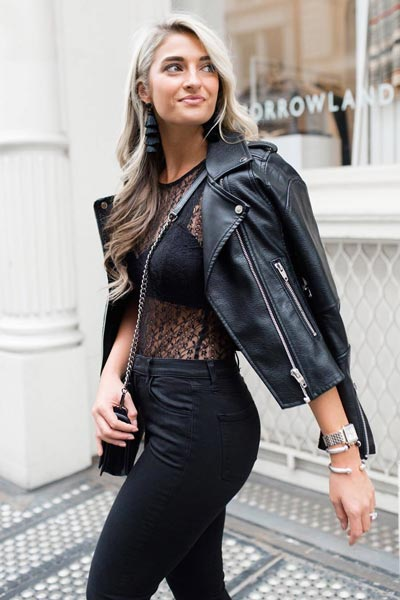 21 Fall Clothing Ideas That are Anything but Boring | Lace Bodysuit in Black + Women's Moto Jacket + High Rise Jeans in Black