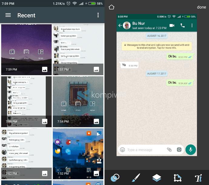 mengedit foto screenshot android