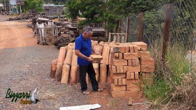 Bizzarri visitando um depósito de demolição, garimpando tijolos de demolição. Na foto escolhendo tijolo de demolição sendo para revestimento de uma casa antiga aqui de Atibaia-SP. Tijolo com mais de 200 anos. Tijolo feito de barro. 24 de março de 2017.