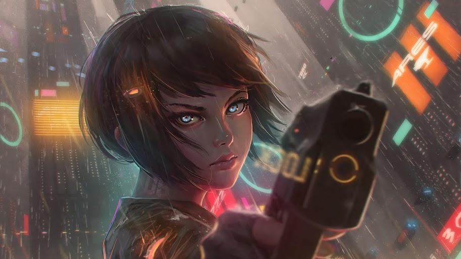 Cyberpunk, Anime, Girl, Pistol, Gun, 4K, #125