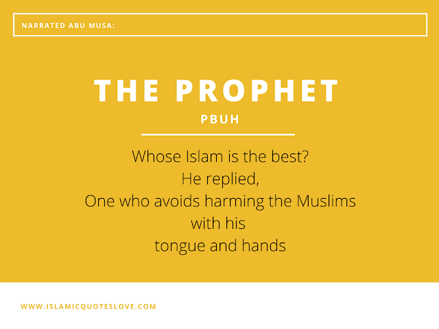 "Some people asked ALLAH's Messenger (PBUH)  ""whose Islam is the best? i.e ( Who is a very good Muslim)?"" He replied,""One who avoids harming the Muslim with his tongue and hands."""
