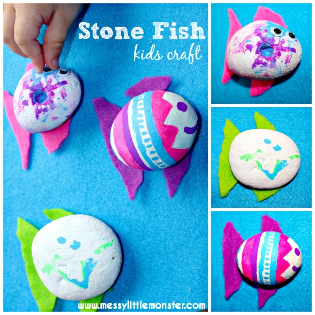 Stone Fish Craft For Kids Use Painted Stones And Chalk Pens To Make