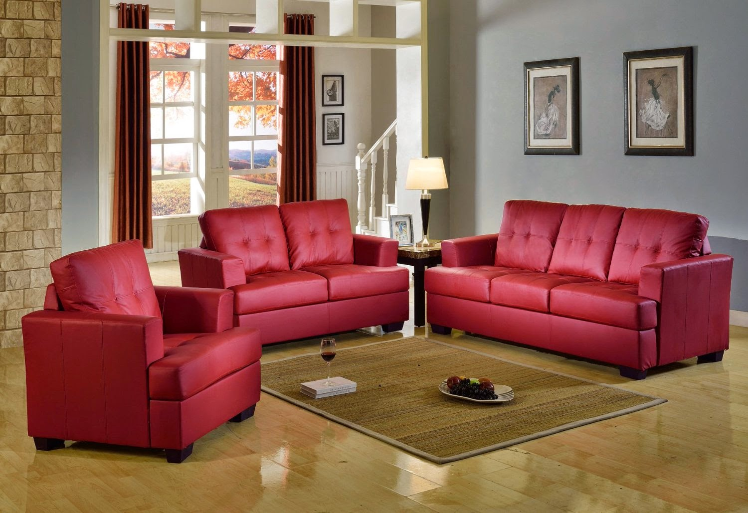 beverly 3piece modern red leather sofa