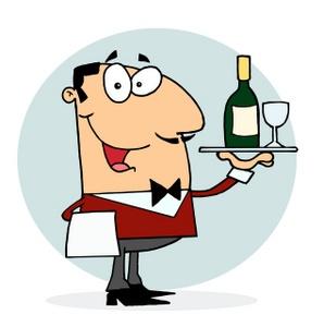 Waldo the waiter with wine