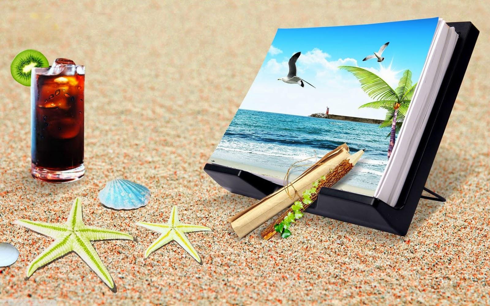 Foto met voorwerpen op strand
