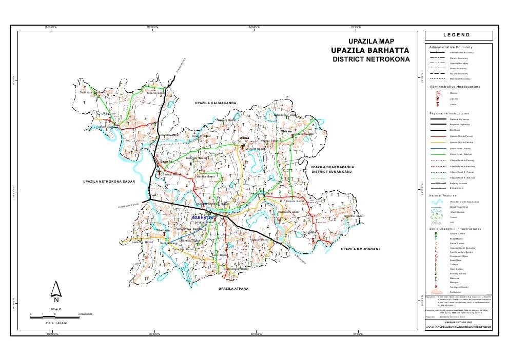 Barhatta Upazila Map Netrokona District Bangladesh