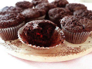 Chocolate Raspberry Crumble Muffins