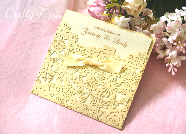 Champagne Laser Cut Wedding Cards | Kad Kahwin Crafty Farms handmade