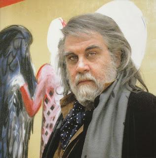 El músico griego Vangelis ante una de sus obras pictóricas.