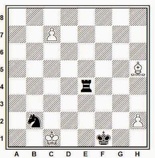 Estudio artístico de ajedrez compuesto por Y. Afek (1º Premio, KSFAH, 1997-98)