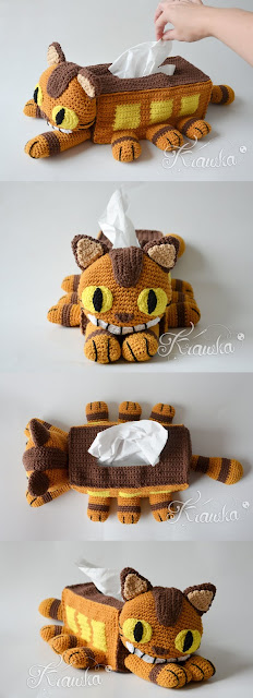 Krawka: Catbus crochet tissue box cover pattern by Krawka Cheshire Cat mixed with Totoro - perfect home decoration or housewarming gift