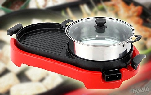 2 In 1 Bbq Korean Electronic Pan Grill Teppanyaki Hot Pot Steamboat Combination