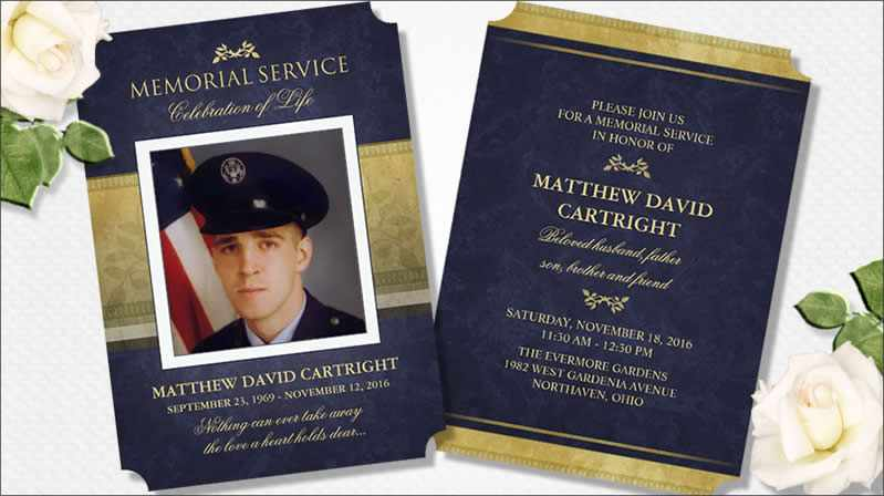custom memorial service invitation navy blue & gold elegant design by Julie Alvarez Designs