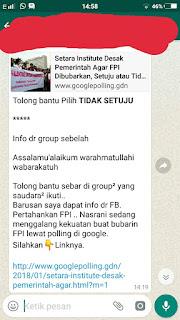 Beredar Broadcast Polling Bubarkan FPI di Situs Google, Hoax!