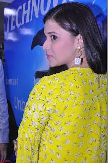Mannara Chopra in yellow salwar suit at Samsung S8 smart mobile launch Hyderabad
