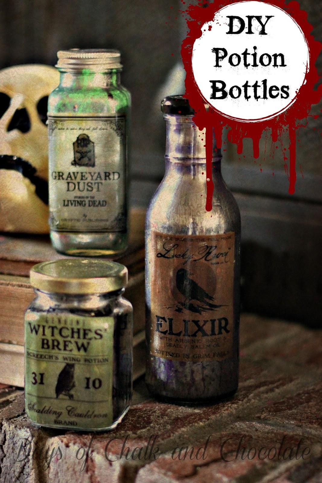 Diy Halloween Decor Potion Bottles Days Of Chalk And