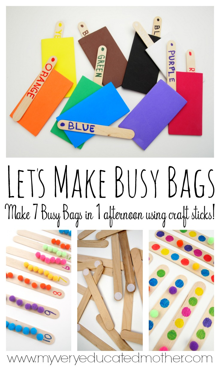 7 Busy Bags you can make in one afternoon using craft sticks!