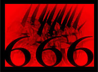 A graphic by Erika Grey of the seven to eight headed image of the beast with ten horns and an eleventh little horn with the number 666 in large black numbers in front of the beast of Revelation depiction in black with a red background signifying The Mark Of The Beast-666