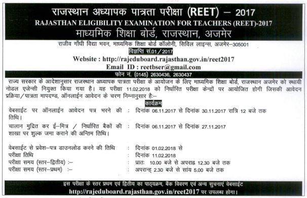 image : REET-2017 Notification @ TeachMatters