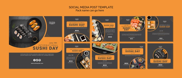 Instagram post collection for international sushi day Free Psd
