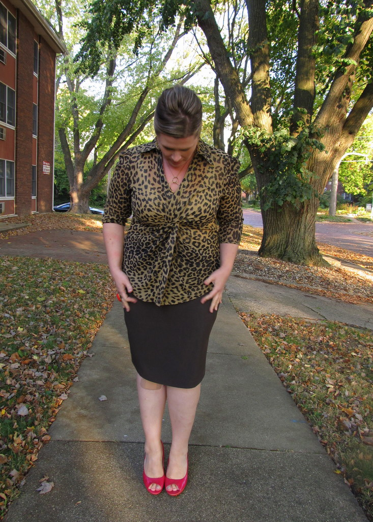 18e8d3a14c2 Leopard print top - thrifted   Brown pencil skirt - NY Co.   Tank -  Anthropologie
