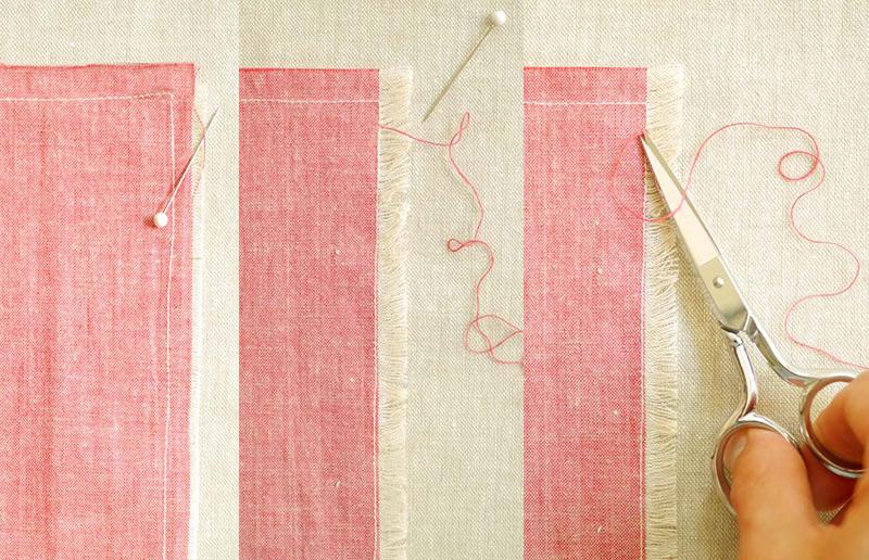Passos para fazer guardanapos de tecido diy com franja
