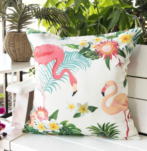 Outdoor Tropical Paradise Flamingo Pillows