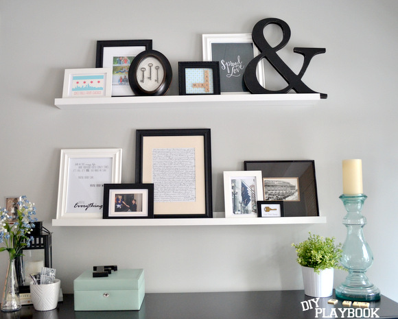 Picture ledges from ikea for the master bedroom wall for Picture wall ideas