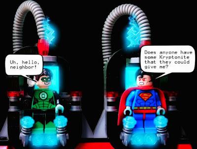 Lego Superman speaking to Lego Green Lantern