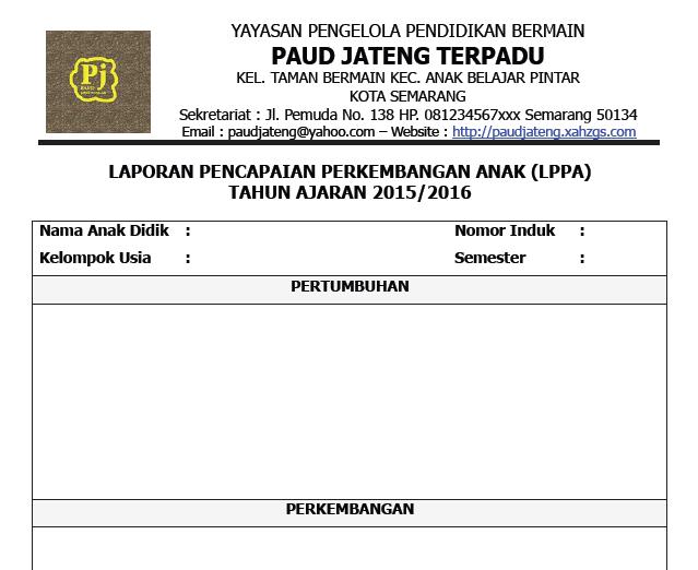 Contoh Format Penilaian Kurikulum 2013 Paud Tk Kb Tpa Lengkap Terbaru 2016 Wikiedukasi Paud