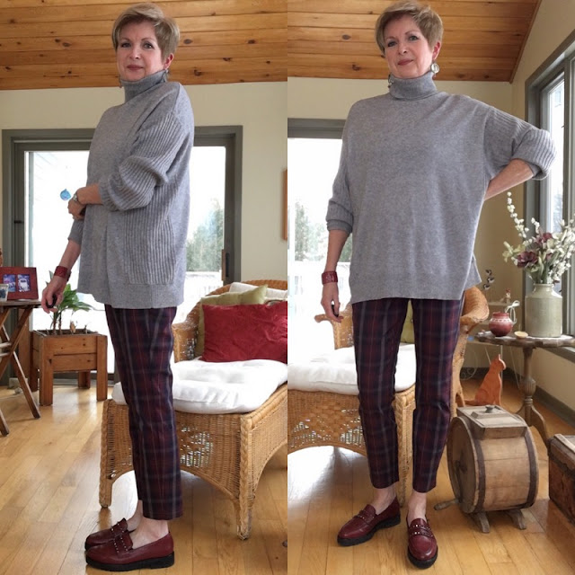 two shots of a woman in grey turtleneck sweater, burgundy plaid pants, and burgundy loafers
