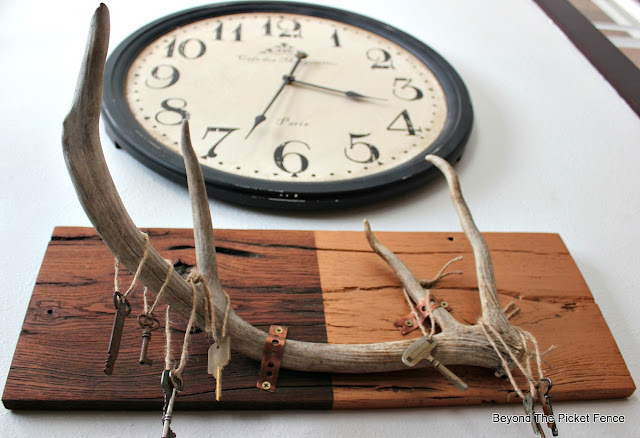 barnwood, rustic chic, antlers, old keys, jute, rustic style, fusion paint, Matthew Mead, copper paint, http://bec4-beyondthepicketfence.blogspot.com/2016/01/rustic-chic-marriage-contracts.html