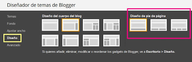 Configurar el diseño de pie de página en Blogger