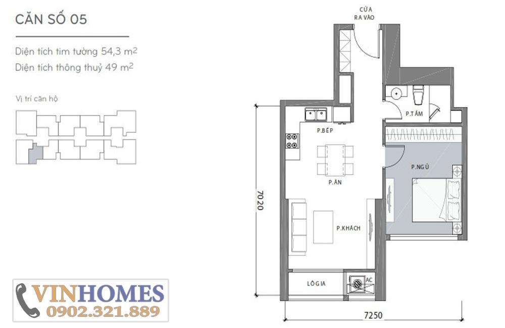 Bán căn hộ Vinhomes Bình Thạnh khu Landmark - layout căn hộ 1 phòng ngủ