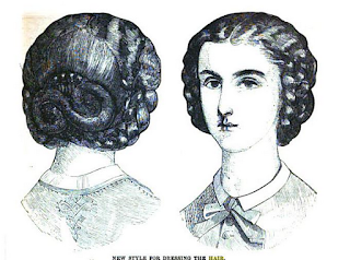 """New Style for Dressing the Hair"" in Peterson's, 1862."