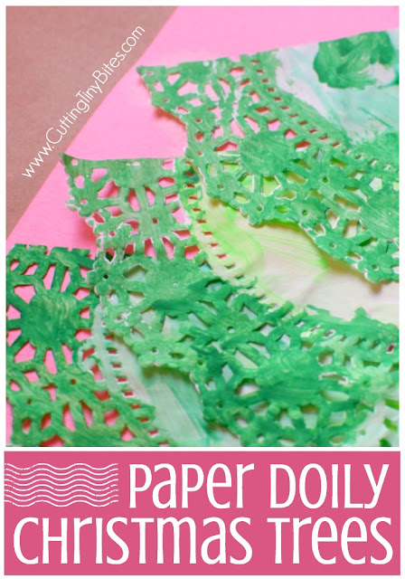 Paper Doily Christmas Tree Craft- fun holiday painting activity for preschoolers, kindergartners, or elementary kids.  Paint paper doilies then assemble them into Christmas tree shapes!