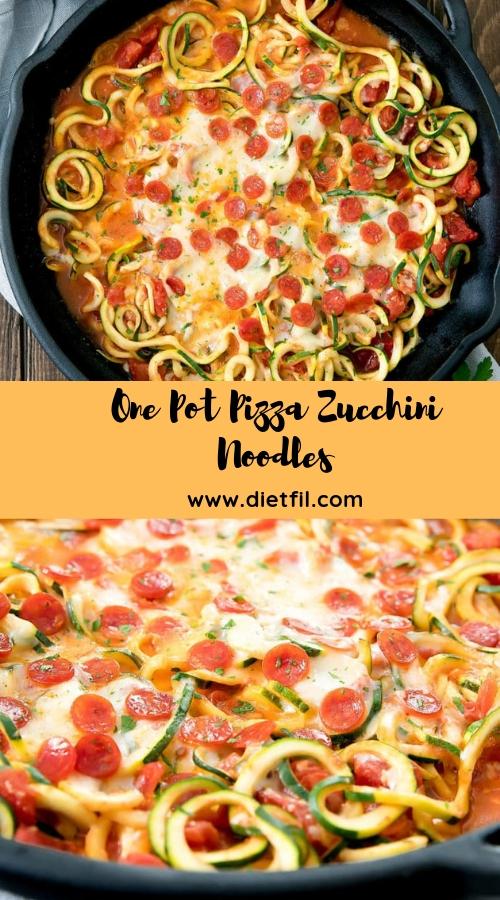 One Pot Pizza Zucchini Noodles #onepot #pasta #pizza #glutenfree