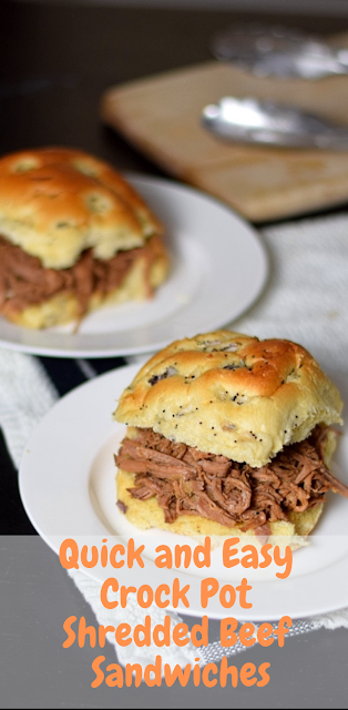 Quick and Easy Crock Pot Shredded Beef Sandwiches