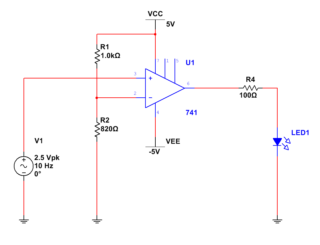 the 741 op amp compares the two signals applied to it s inverting and non inverting inputs in this case i have set the reference to be on the inverting  [ 1034 x 790 Pixel ]