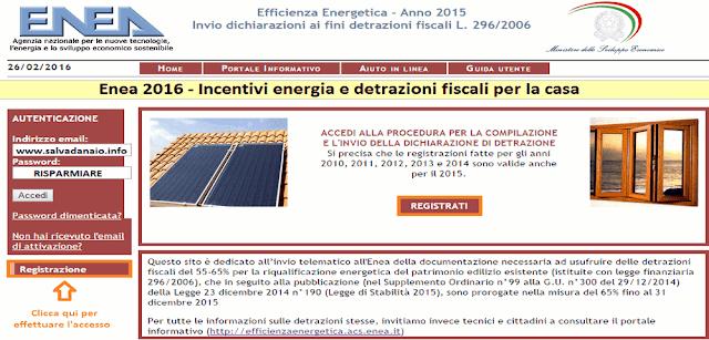 Enea 2016 - Incentivi energia e detrazioni fiscali per la casa
