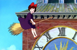Flying by clock Kiki's Delivery Service 1989 animatedfilmreviews.filminspector.com