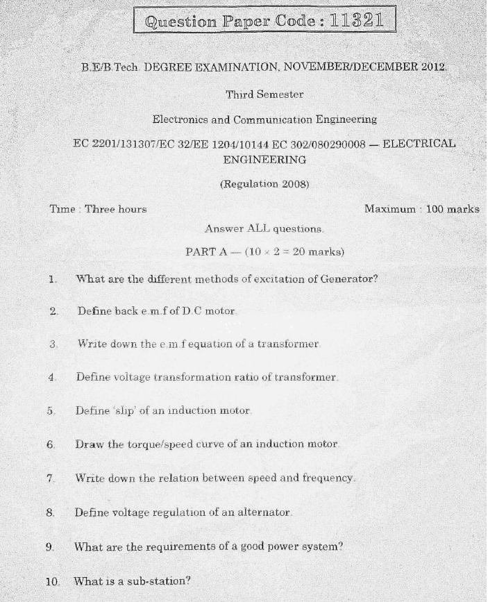 EC2201 Electrical Engineering Nov Dec 2012 Question Paper