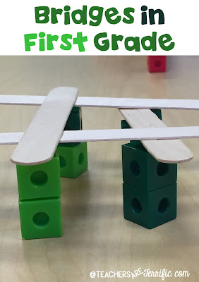 "First Grade STEM: Each child had ten counting cubes and four craft sticks. All I told them was, ""Build a bridge."" Check this blog post for more!"