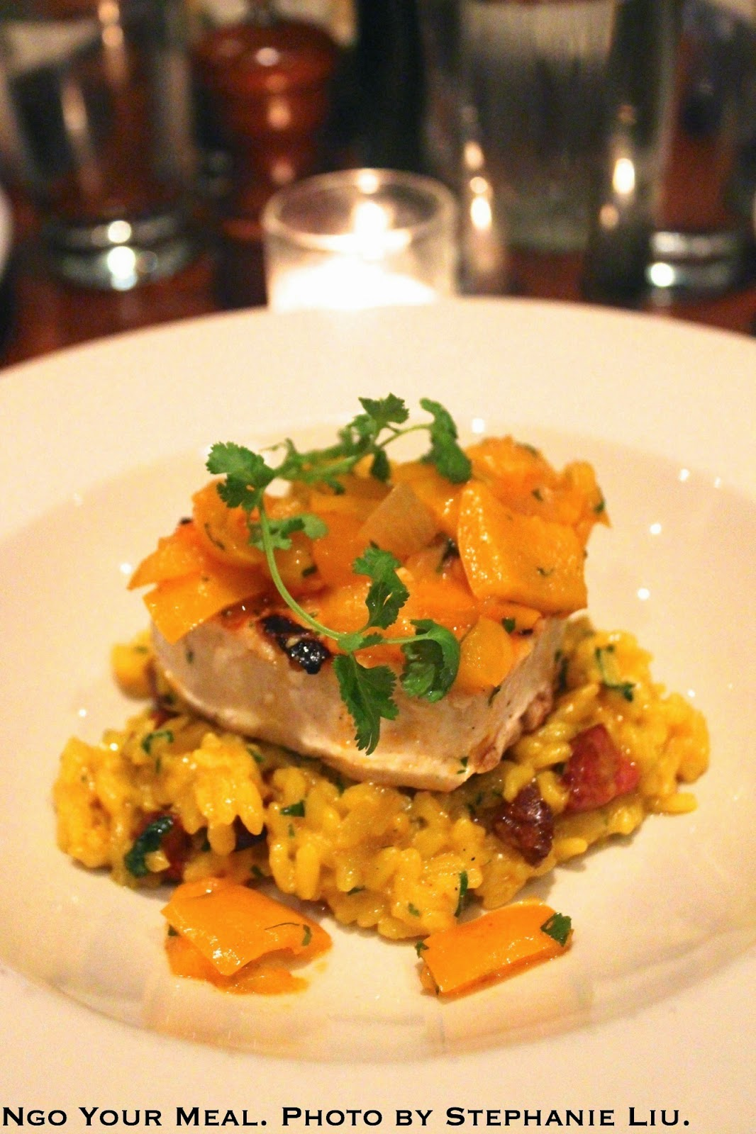 Grilled Swordfish with paella risotto, chorizo, and piperade at Jane