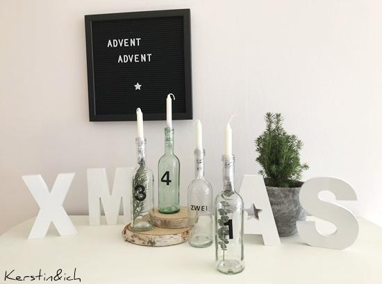 Adventskranz Deko Weihnachten Flaschen Modern Advent Kerzen